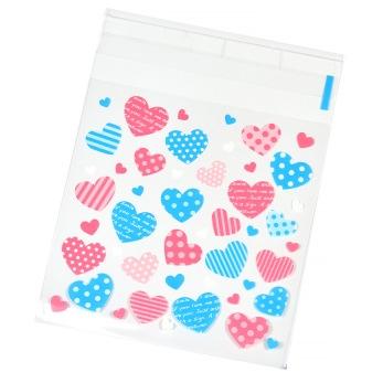 Plastpåsar med hjärtan, 10x13cm