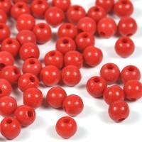 Röda akrylpärlor, 6mm