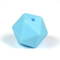 Kantig silikonpärla, 16mm, babyblå