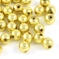 Pläterade akrylpärlor, guld, 8mm