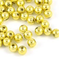 Pläterade akrylpärlor, guld, 6mm