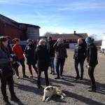 Glada deltagare samlas på gårdplanen . Foto Ann Persson