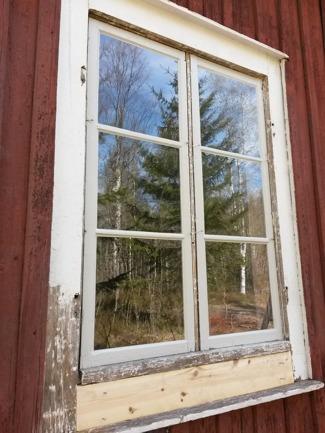 Nymålade fönster! Karmen håller vi på att skrapa ren från akrylatfärg och brädan under fönstret var rutten, så den har vi bytt ut.