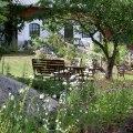 Sommarkväll i trädgården på Stakaberg Gårdshotell och B&B i Holm utanför Halmstad