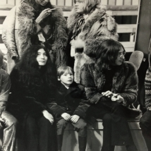 "John and Julian Lennon, Yoko Ono, Brian Jones and Donyale Luna 1968 ""family show"""