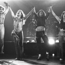 lynn goldsmith Van Halen jumping at the end of a show performing LOS ANGELES, 1979
