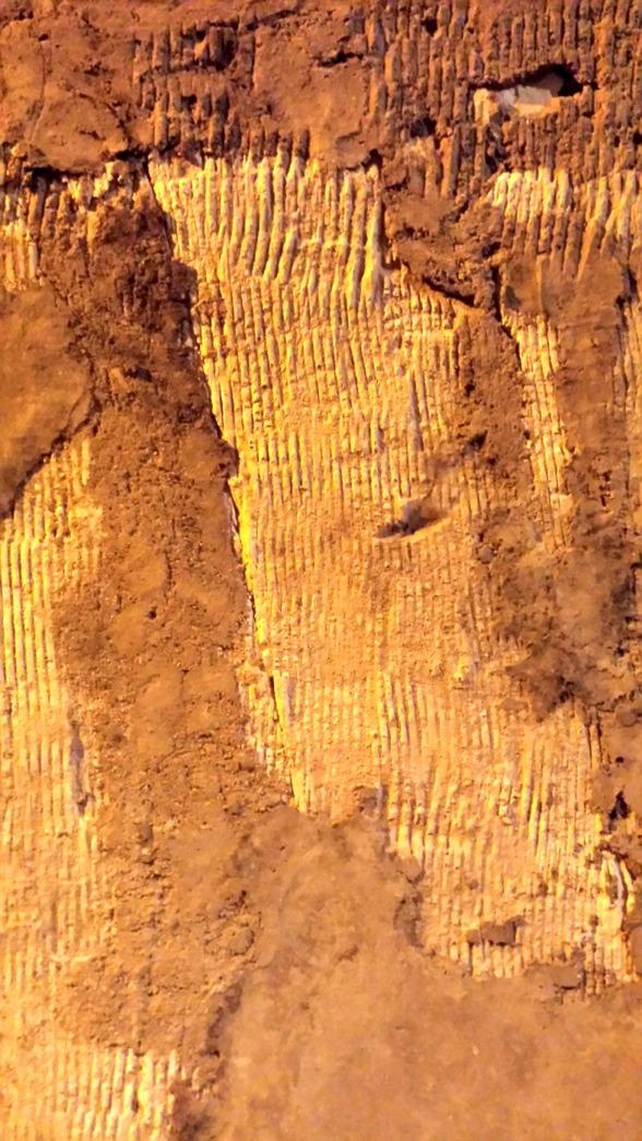 Det inristade strecken är spår av verktyg när de krafsade fram källaren.