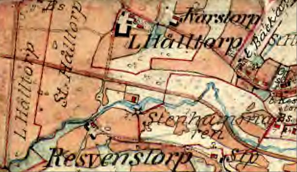 Hålltorp 1877 - då finns bara Lilla Hålltorp med byggnader. Lägg märke till den enorma U-formade ladugården! Av Stora Hålltorps mangårdsbyggnader kan man bara se en liten svart byggnad kvar på tomten.