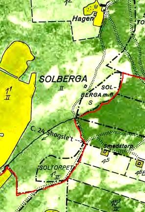 """Klicka på kartan för att se den större! Den röda linjen är en del av den Gamla Solberga Gårds gräns. De prickade """"vägarna"""" utgör en del av fädrevet upp mot markerna öster om Solberga Gård."""