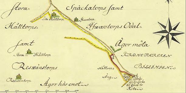 Klicka på bilden för att se kartan större! Ljungstorpsvägen från Lilla Hålltorp mot Ljungstorp - svagt brun linje/svart markering. (Lantmäteriet Historiska Kartor)