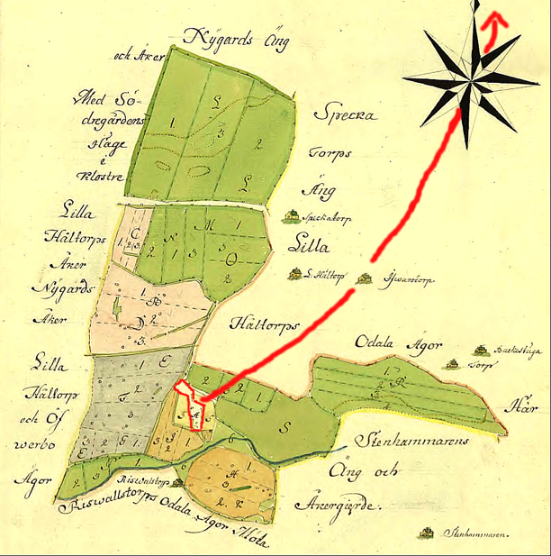 Geometrisk avritning sv Stora Hålltorp 1758. A = själva tomten för husen. Riswallstorp för Redsvenstorp.