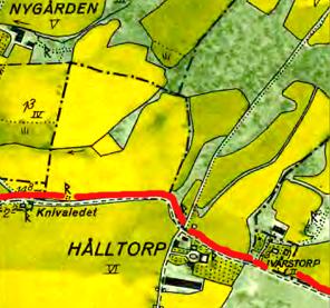Hålltorp (Lilla) på 1960 års karta (Lantmät. Historiska Kartor) Röd markering Ljungstorpsvägen som gräns mot norr. Klicka på bilden för större karta!