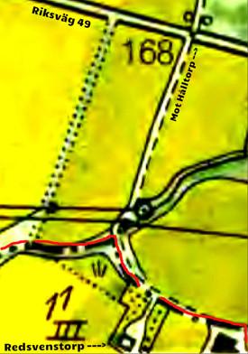 Redsvenstorp på 1960 års karta - själva bostadshuset och del av ladugård efter flytten i början av 1900-talet från en plats nära bäcken.