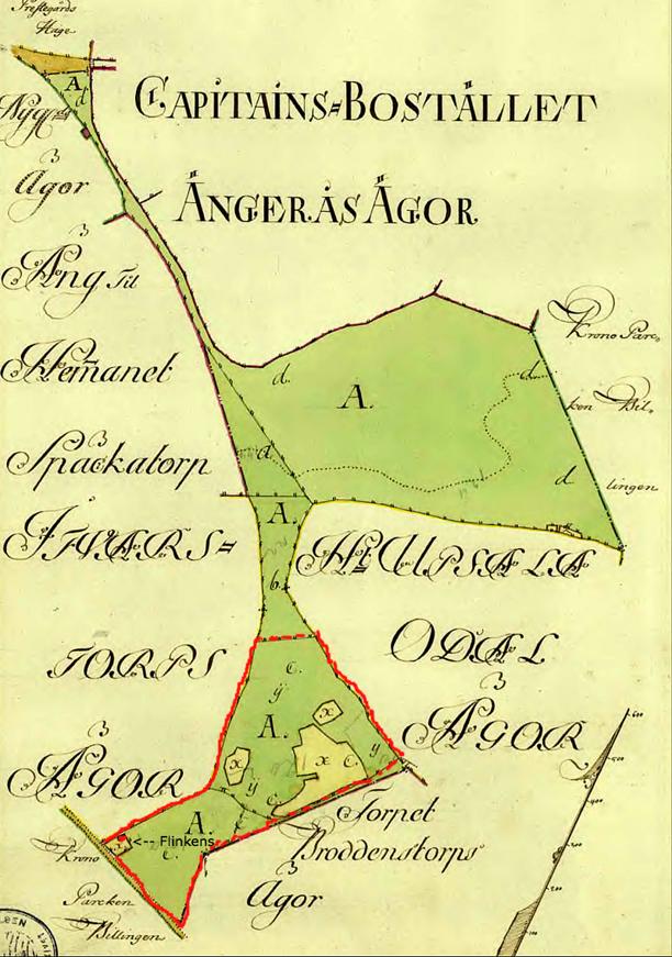 """Röd markering anges i karttexten som c. """"Intägt till Backestuga, Flinkens kallad"""". Markerna sluttade från norr och därför blev det namnet Flinkebacken i folkmun på de brukade ägorna i Kronoparken."""