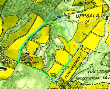 Röd markering är Ivarstorp på 1960 års karta. Ivarstorp 1:2= del av Flinkebo. Grön markering är tiden för 1794 och blå markering efter skiftet från karta 1856. Ungefärliga markeringar Kent Friman.