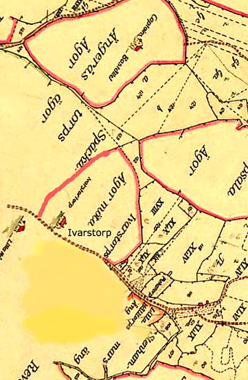 Ivarstorps ägor före år 1800 fullbordade med rött i väster (KF).