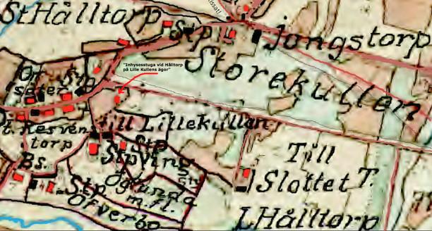 Klicka på bilden för större karta! 1877 års karta - förstorad och ifärgad av Kent Friman, 2013.