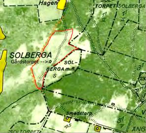 Klicka på bilden för större karta! 1960-talskartan. Gårdstorpet inritat med rött enligt karta 1829. Torpet är enda byggnad kvar från Solberga gårds ägor. Äldre väg till Solbergatorpet Hagen brunmärkt.
