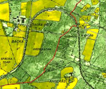 Östra gränsen för Backas ägor (1960) med rött.