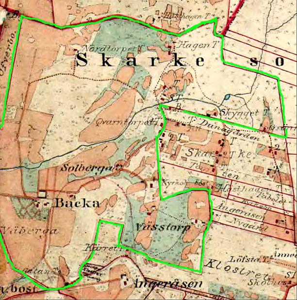 Grön markering utgör Backa gårds ekonomiska gräns 1877. (Lantmäteriet Historiska Kartor)