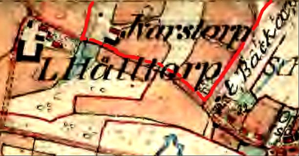 Röd markering för Ivarstorps ägor 1877. (Lantmäteriet Historiska Kartor)