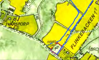 Del av Flinkebo blev Ivarstorp 1:2 med röd färg (sedan 1950). Blått = del av Kronolägenheten från 1803 skiftad till Ivarstorp. Blev 1856 Flinkebo,  Granne med Flinkebacken, 1803 tillhörig Späckatorp.