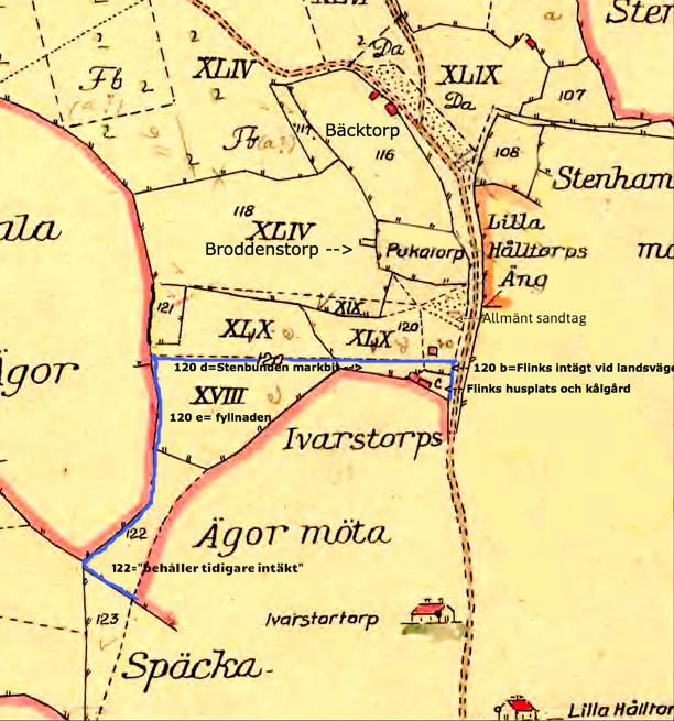 Karta från 1794 var grund för skiftet 1803. (Lantmäteriet Historiska Kartor)