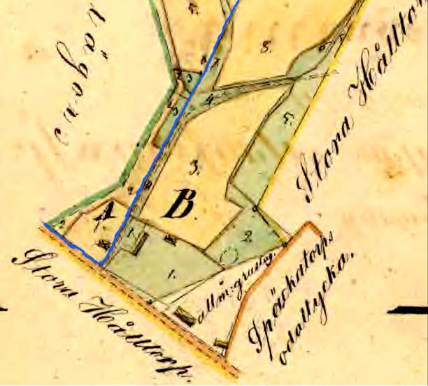 Detalj av karta 1856 med Flinkebos husplats (vid littera A.) - en ny husplacering inom samma intäkt, men mitt emot tidigare huspalcering - vid gränsen mot Späckatorps del som nu blev Flinkebacken.