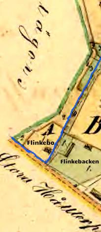 Karta 1856 visar nytt hus - kallat Flinkebo. Blått=Ivarstorps ägor (västerut, dvs till vänster om blå linje)