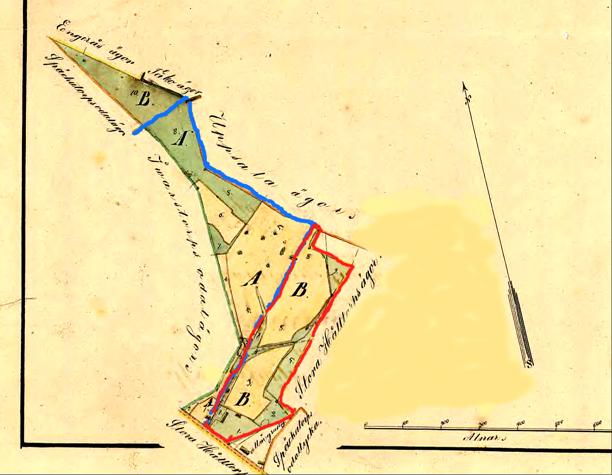 Regleringskarta år 1856. Flinkebacken markerad med rött. Blått åt väster är Flinkebo/Bäckedalen under Ivarstorp.