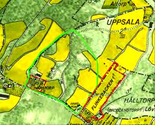 Flinkebacken 1:1 med rött på 1960 års karta.