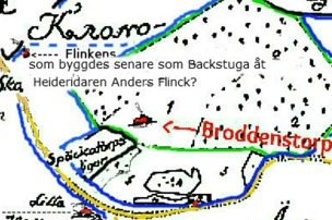 Karta 1764 med Kronparksdelen mellan Ivarstorp och Broddenstorp inklusive ägan söder Broddenstorp tillhörande Späckatorp.