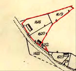 Varnhems sockenallmännings västra del Ljungstorp inritad på karta 1844 inför Laga skifte av Klosters by 1853. (Lantmäteriet Historiska Kartor)