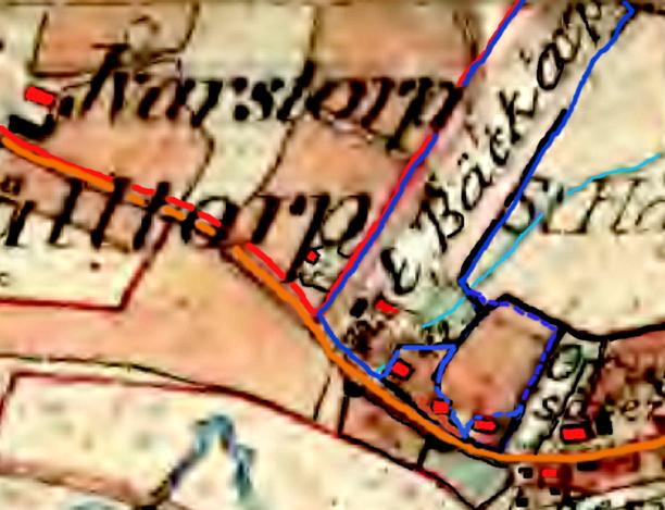 """1877 års karata. Blått= Flinkebo inklusive """"gamla Späckatorps Odallycka"""". Färgningar och ifyllnad på 1877 års karta har gjorts av Kent Friman."""
