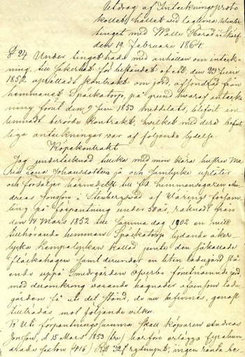 Inteckningshandling 1864 som visar försäljning av förpantning från Späckatorp 1853 av Jonas Johansson. (Dokument från Backa gårdsarkiv förmedlat av Carl Arvid Tell, 2013)