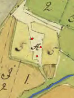 Karta 1779 med Stora Hålltorps dåvarande tre bostadshus nägra hundra meter väster om dagens Tre Bäckar. Klicka på bilden för att se den större!