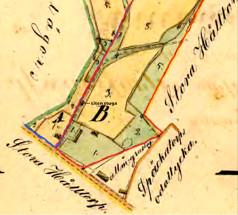 Karta 1856. Flinkebacken inom rött. Klicka på bilden för störrre karta!
