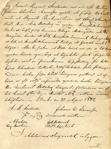 Avskrift av Svalanders och hans makas köpekontrakt 1844 vid försäljning till Löjtnant Wetterberg. Klicka på bilden för större bild!