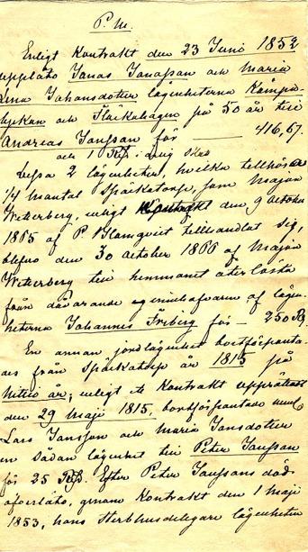 Sid 1 av PM - troligen inför försäljning 1873 av Flinkebacken till Petter Jonsson.