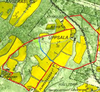 Karta 1960 visar med rött Uppsala ägor med Ivarstorp inkorporerat fr o m 1952. Blått streck avgränsar ungefärlig huvudäga före 1952.