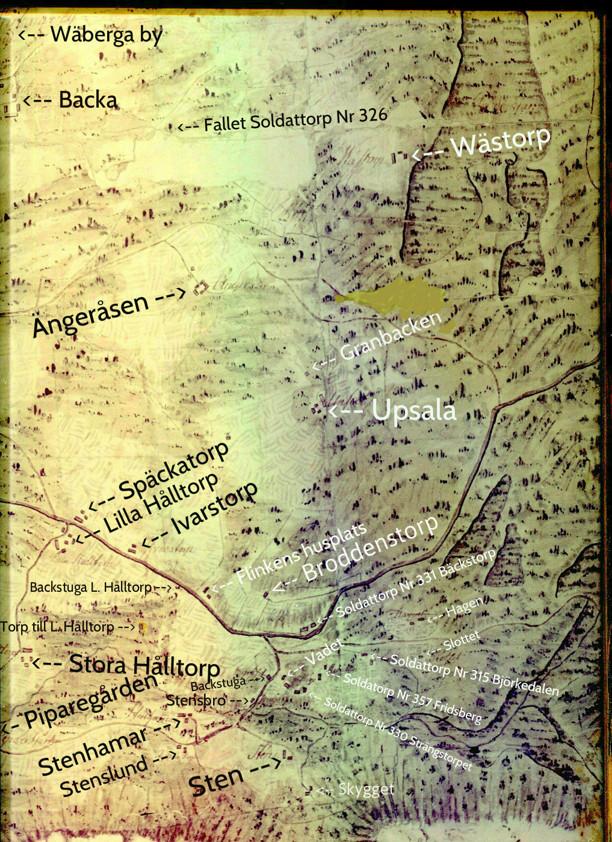 Kartan avfotograferad på Backa gård via Carl Arvid Tell, 2013