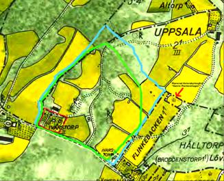 Den gröna markeringen ungefärliga Ivarstorps marker före 1800. Blå efter skiftet 1803. Den röda visa Ivarstorp efter Uppsalas köp av marken 1952. Röd pil visar kyrkogården.