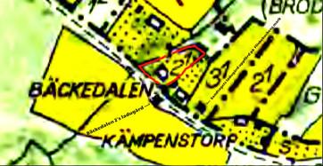 """Karta 1960 med Bäckedalen 2:1 friköpt 1936 enligt ensittarlagen från """"Alla hemman i Varnhems socken"""". Klicka på bilden för större karta!"""