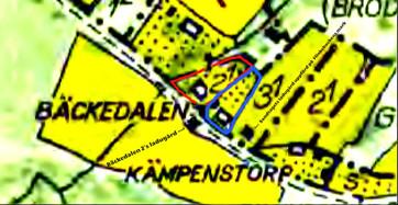 """Sandtaget Bäckedalen 3:1 med blått på 1960 års karta. Fälten där siffrorna 3:1 och 2:1 står är här fortfarande Flinkebackens ägor (rester av Späckatorps """"Odal-lycka"""") Rött=Bäckedalen 2."""