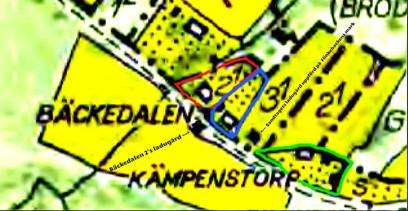 Grönt=Kämpenstorp, Blått=Sandtaget, Rött=Lindqvistska huset (Bäckedalen 2) Karta 1960