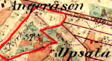 Rött=Altorps gränser 1877 på Kyrkebos mark. Boningshus och mindre ladugård. Klicka på bilden för något större karta!