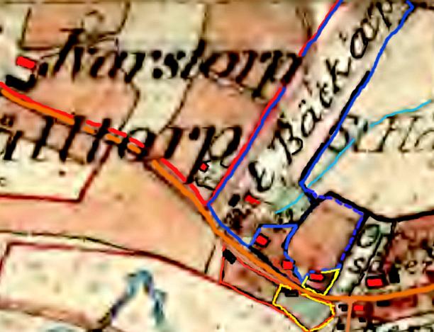"""Gul markering visar """"Jonasa-lycka"""" + Kämpenstorp - """"Statar Jonas"""" torparkontrakt med Hålltorp 1862"""