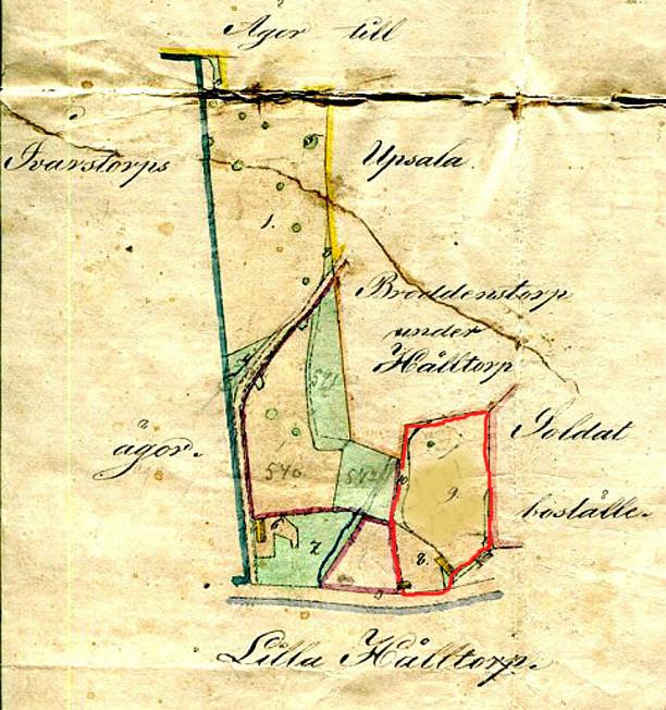Karta upprättad 1872 med yttre gränserna för Flinkebacken inklusive Späckatorps gamla Odallycka. Ivarstorp i väster, Upsala i norr och Broddenstorp under Hålltorp samt Soldatbostället Bäcktorp i öster