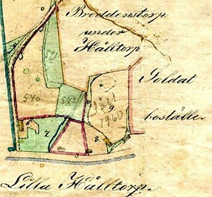 Karta 1872 över Flinkebackens tillhöriga mark och dåvarande användning, samt Petter LIndqvist hus/Bäckedalen 2, Sandtaget och Kämpenstorp.