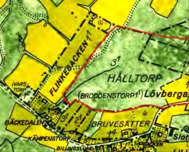 Karta 1960 med rödmarkerad äga för Broddenstorp före skiftet 1803.